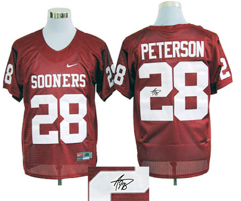 Oklahoma Sooners 28 Peterson Red Signature Edition Jerseys