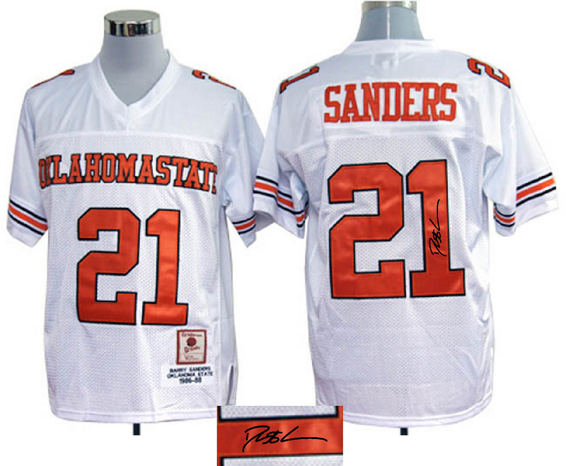 Oklahoma State Cowboys 21 Barry Sanders White Signature Edition Jerseys