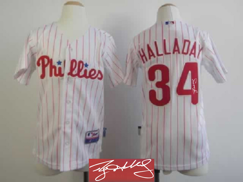 Phillies 34 Halladay White Signature Edition Youth Jerseys