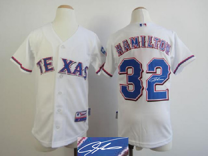 Rangers 32 Hamilton White Signature Edition Youth Jerseys