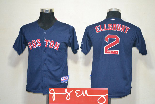 Red Sox 2 Ellsbury Blue Signature Edition Youth Jerseys