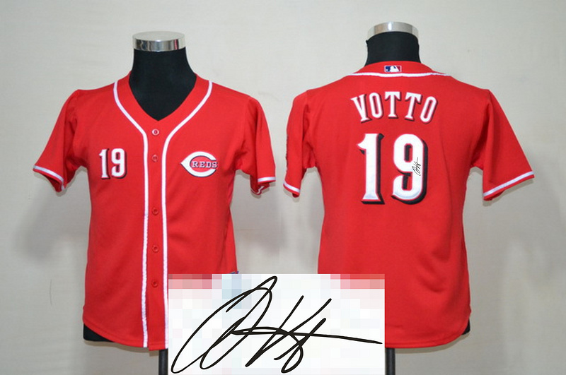 Reds 19 Votto Red Signature Edition Youth Jerseys