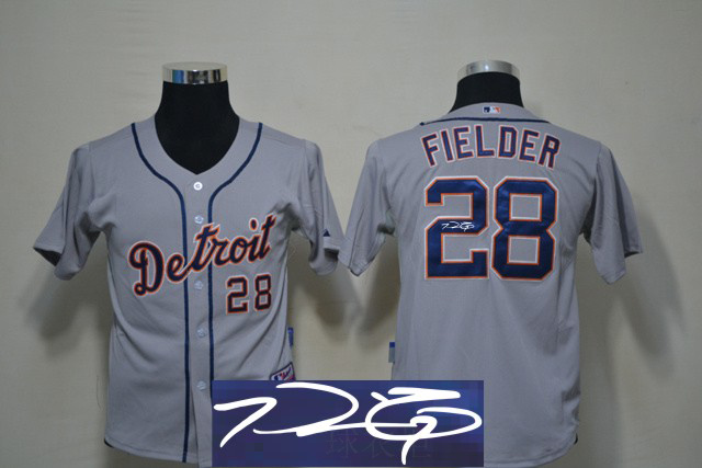 Tigers 28 Fielder Grey Signature Edition Youth Jerseys