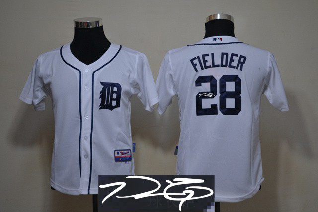 Tigers 28 Fielder White Signature Edition Youth Jerseys