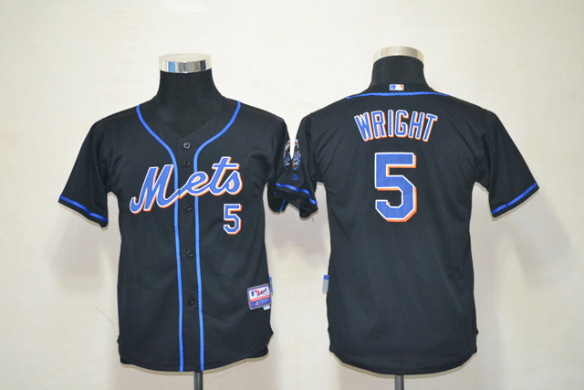 Mets 5 Wright Black Youth Jersey
