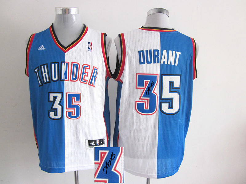 Thunders 35 Durant White & Blue Split Signature Edition Jerseys
