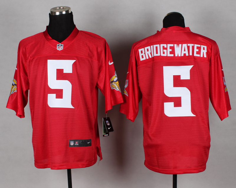 Nike Vikings 5 Bridgewater Red Elite Jerseys