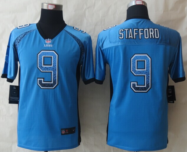 Nike Lions 9 Stafford Drift Blue Elite Youth Jerseys